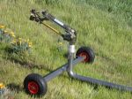 Turbine drive, effluent irrigation sprinkler with wheeled cart